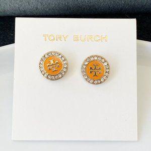 Tory Burch-signature logo crystal orange earrings